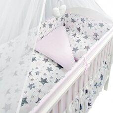 Apsauga lovytei Ankras 360cm aplink visą lovytę - su rožine spalva